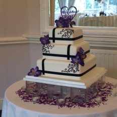 Sugar vanda orchids & scroll design wedding cake