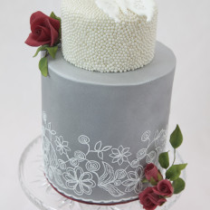 Pearls & Filigree Butterfly Wedding Cake