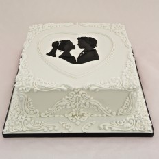 Silhouette Bride & Groom Royal Iced Wedding Cake