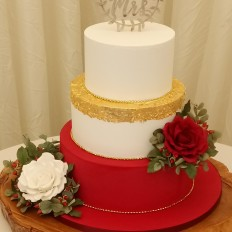 24 carat edible gold leaf, royal iced & sugar vintage roses luxury wedding cake