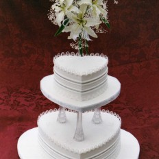 Oriental Stringwork & Tube Embroidered Royal Iced Wedding Cake, & Sugar Casablanca Lilies