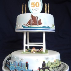 Rugby, Steam Train & Clipper Themed 50th birthday Cake