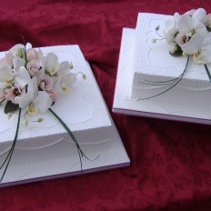 Simplicity Royal Iced Wedding Cake with Sugar Moth Orchids & Lisianthus