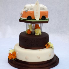 Camper Van & Surf board Birthday Cake