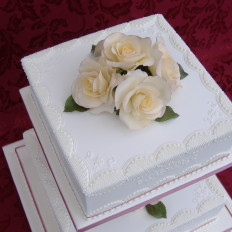 Lattice Piped Royal Iced Wedding Cake & Sugar Roses