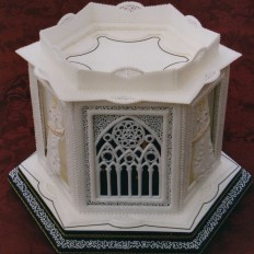 Angel and Church Window Royal Iced Christmas Cake