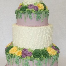 Buttercream Textured & Buttercream Piped Flowers Wedding Cake- Roses, Ranunculus, Succulents, Eucalyptus