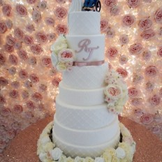 Chantilly Lace Wedding Cake with artificial flowers