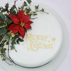 Winter Sugar Flowers & Foliage Christmas Cake