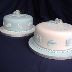 Cornish Twins Christening Cakes