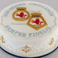 HMS Exeter - Ships Crest & Motto Royal Iced Cake