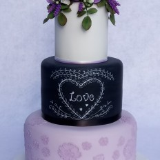 Lilac & Chalkboard Wedding Cake, Sugar Roses, Freesias,Lavender, Brush Embroidered Lace