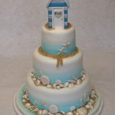 Beach Hut & Shells Wedding Cake
