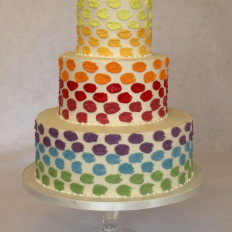 Rainbow Royal Iced Daubs on Buttercream Coating Wedding Cake