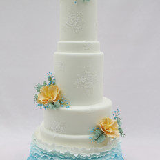 Turquoise Frills, Brush Embroidery Lace & Sugar Flowers Wedding Cake
