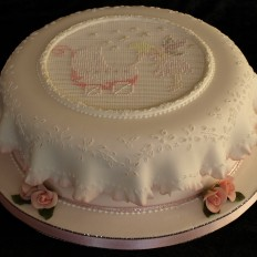 Fairy God Mother, Piped Cross Stitch Christening Cake,