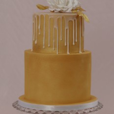 Gold Airbrushed Drip Wedding Cake with White Sugar Vintage Rose