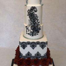 Dark Elegance Gothic Wedding Cake - Blood Red Sugar Roses & Black Piped Lace