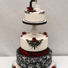 Gothic Skulls Tattoo Piping Wedding Cake