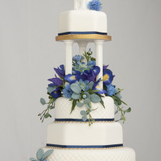 Blue Silk Flowers, Romantic Figurine, Wedding Cake