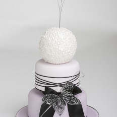 Lilac Ombre & Black Butterfly Wedding Cake