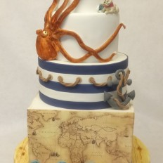 Nautical Gay Pride Wedding Cake