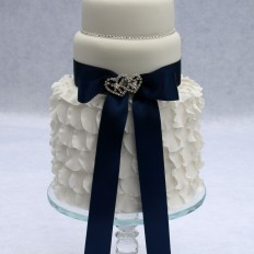 Ruffles & diamante wedding cake