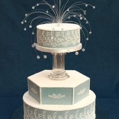 Wedgewood Wedding Cake with Hand Piped Lace Detail
