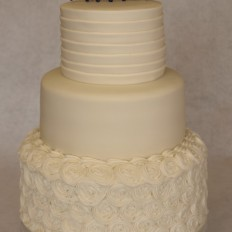 Piped Swirls & Pleats Wedding Cake