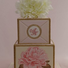 Royal Iced Panel Cake, Brush Embroidered Peony & Gold Painted Bead Piping