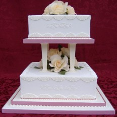 Lattice & Embroidery Piping, with Sugar Roses Royal Iced Wedding Cake
