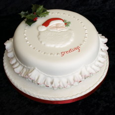 Santa, Sugar Holly & Frills Christmas Cake
