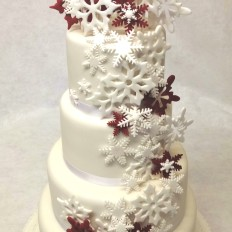 Snowflake Cascade Wedding Cake