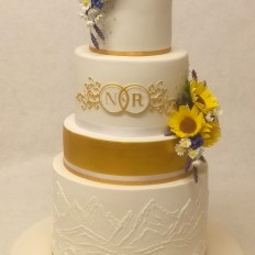 Sugar Sunflowers, Cornflowers, Lavender & Daisies with Royal Iced Piped & Brush Embroidered Mountains and Waves
