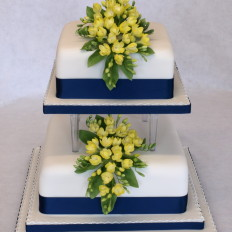Sugar Yellow Freesia Cascade Wedding Cake