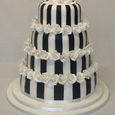 Black & White Stripes with White Sugar Roses Wedding Cake