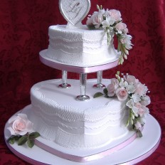 Delicate Romance Royal Iced Wedding Cake- Sugar Flowers, Lattice & Extension Work Piping
