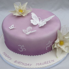 Piped Filigree Butterfly & Sugar Lotus Flower Birthday Cake