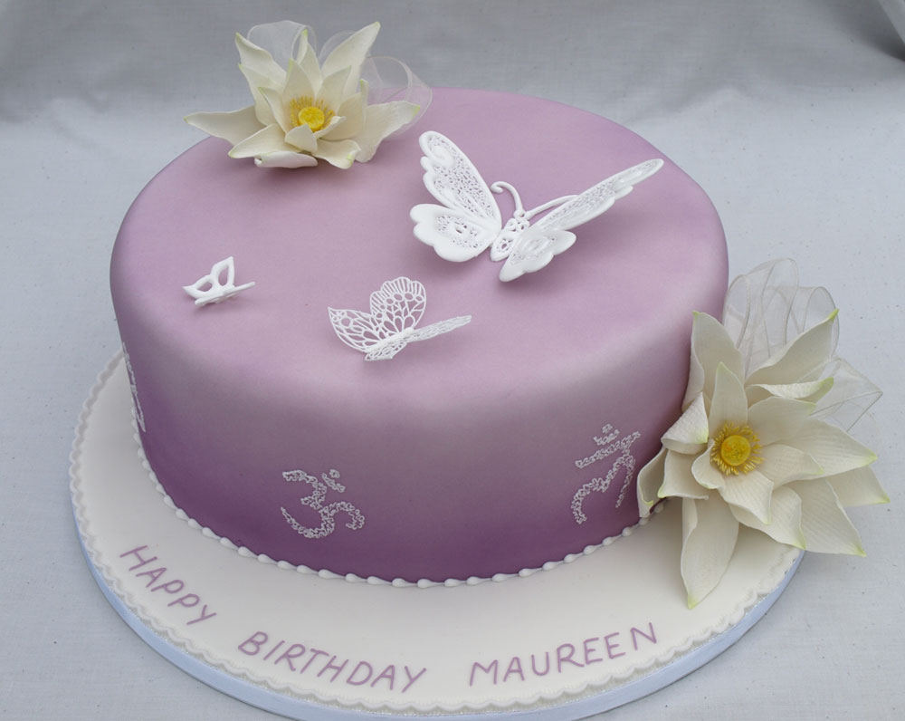 Galleries birthday cakes donna jane cakes piped filigree butterfly sugar lotus flower birthday cake izmirmasajfo