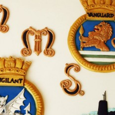HMS Vanguard & HMS Vigilant Coats of Arms - Royal Iced Pressure Piped