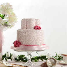 Pink Shimmer Lace Wedding Cake & Fabric Effect Roses