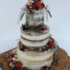 Semi Naked Wedding Cake with Fresh Fruit &Wild Flowers