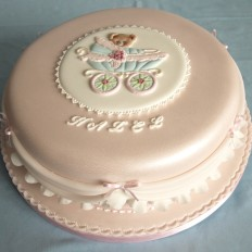 hazel - pretty frills & swags christening cake