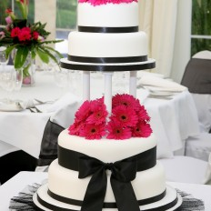 Hot Pink Gerbera Wedding Cake