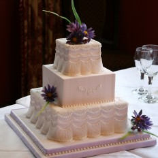 Lilac Daisies & Extension Work Royal Iced Wedding Cake