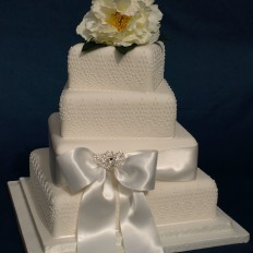 peony & diamonds with royal icing lace wedding cake